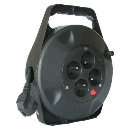 LED21 Prodlužovací přívod na bubnu, 4 zásuvky, černý, 10m